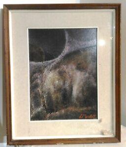 Peinture Abstrait Huile sur Toile Signé Luigi Merlo 1973 60x50 CM