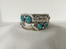 Sterling Silver Turquoise/Coral Bracelet Native American Navajo Handmade