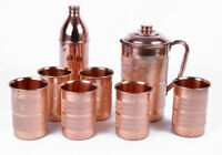 Copper Handmade Water Jug 6 Pitcher Tumbler Bottle Set Natural Ayurveda