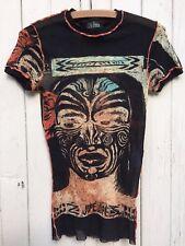 Iconic vintage JEAN PAUL GAULTIER maille MAORI tattoo print mesh tribal rare JPG