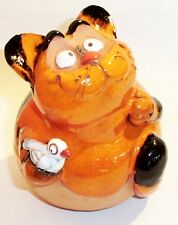 Garten Kugel Keramik Dekoration Figur Katze mit Vogel Handarbeit