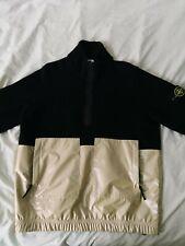 Stone Island Jersey de oro rosa iridiscente Negro Lana De Cordero Suéter Half Zip XL