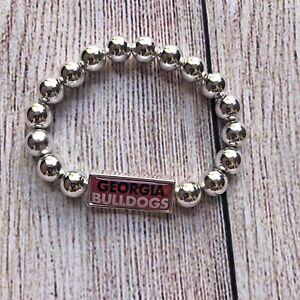 UGA Georgia Bulldogs Licensed Silver Tone Stretch Bracelet