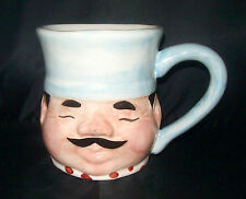 CHEF FACE COFFEE CUP MUG 3-D BLACK MUSTACHE EYES CLOSED LARGE HANDLE