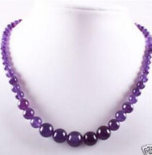 New 6-14mm Purple Amethyst Round Beads Gemstone Necklace 17'' AAA