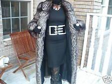 Excellent Designer  I Magnin Full Length  Silver Fox Fur Coat Jacket S-M 4-10