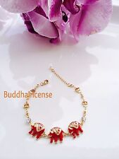 18K gold plated 3 elephant Red connect bracelet with an Austria diamont