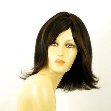 perruque femme 100% cheveux naturel mi-long méchée noir/cuivré HELENA 1b30