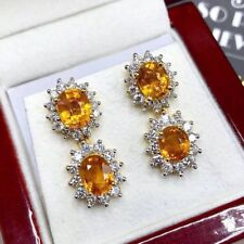 Dangling! 8.52TCW Orange Sapphire Diamond 18K solid yellow gold earrings natural