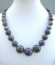 Chunky Natural Amethyst, Dark Citrine & Hematite Knotted Round Bead Necklace