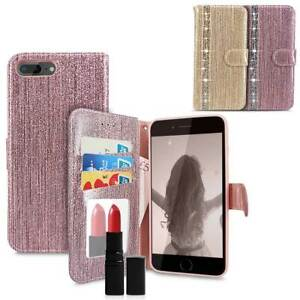 For Apple iPhone 7 8 Plus Glitter Diamond Card Holder Mirror Leather Wallet Case