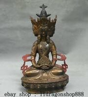 """9,6 """"Ancien Tibet Bouddhisme Bronze Doré 4 Face Amitayus Longévité Déesse Statue"""