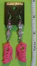 Pink Heart High Heel Drop Earrings For Shoe Lovers Handmade