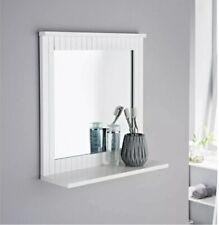 Maine White Bathroom Wood Frame Mirror Wall Mounted with Cosmetics Shelf