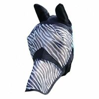 New Full Face Protection Ears Nose Horse Cob Pony Fly  Mask Net ZEBRA PRINT