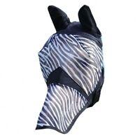 New Full Face Protection Ears Nose Horse Cob Pony Fly  Mask Net ZEBRA PRINT