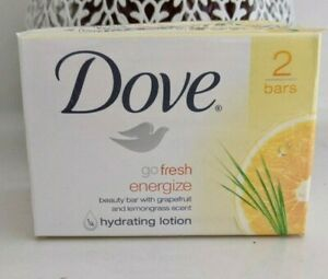 Dove Go Fresh Energize Beauty Bar Soap Grapefruit & Lemongrass Scent 8 Bars