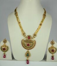 Indian Wedding Gold Plated Faux Ruby Emerald Long Rani Haar Necklace Set