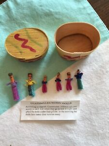 Guatemalan Trouble Worry Dolls Set of 6 in Box  Tiny Miniatures