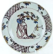 C1750 BRISTOL MANGANESE DELFT POLYCHROME PLATE CHINESE LADY HOLDING FAN b