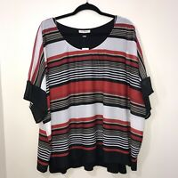 Roz & Ali Red, White, Black Top Blouse Shirt Stripes Size 3x Dressbarn