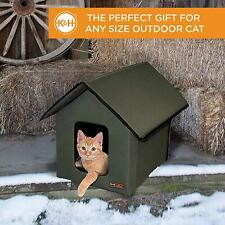 K&H Pet Products Outdoor Heated Kitty Cat House Bed! 18 x 22 x 17- New Olive Dog