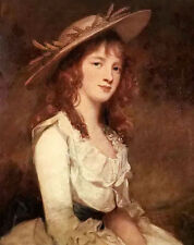 Oil painting george romney - nice young girl miss constable with hat on canvas