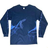 Yazbek Mens Medium Blue Fishing T-Shirt Pocket All-Over Print Cabo Vtg 90s