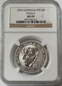 1994 PLATINUM AUSTRALIA $100 KOALA 1 OZ COIN NGC MINT STATE 69