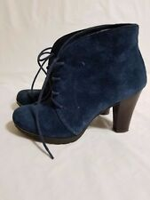 Winter White Mountain Lace Up Snack Ankle Navy Nubuck Bootie Size 6 Pre Owned