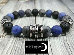 """8""""L Stainless Steel SKULL 10mm Labradorite+Sodalite+Lava Gemstone Bead Bracelet"""