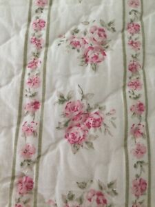 Simply Shabby Chic Quilt Green Floral Pink Roses - Lady Rose? - Full/Queen