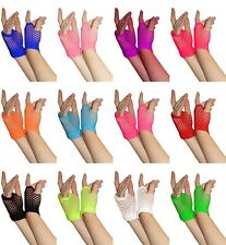 New Short Fancy Dress Halloween 80's Party Goth Neon Fish Net Fingerless Gloves