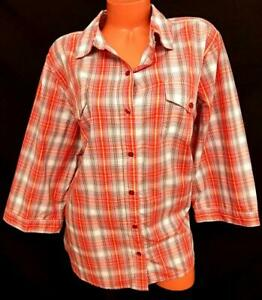 Mainstreet blues red yellow plaid button down women's 3/4 sleeve top 1X