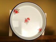 vintage enamel ware gratin roasting dish tray red flowers