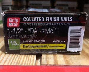 "(BOX OF 4000) 15-Gauge GripRite 1-1/2"" Galvanized Finish Nail ""DA"" Style"
