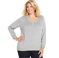 Sweater Tunic Charter Club NEW Women XL 1X 16W 18W $50 COTTON Henley Gray M52