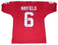 BAKER MAYFIELD AUTOGRAPHED SIGNED OU OKLAHOMA SOONERS #6 JERSEY BECKETT W/ HT 17