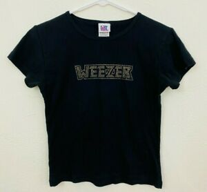 Vintage 90s Weezer Women T-Shirt Fitted Baby Tee OSFA Small Gold Nailhead Giant
