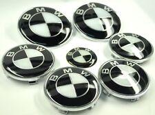 7 set BMW Noir Blanc Classique Insigne Capot Coffre Volant Enjoliveur roue NEUF