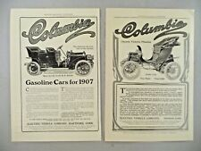 Columbia Electric Car LOT of 2 PRINT AD - 1907 ~~ auto, automobile