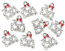 12 'Jingle Bells' Silver Metal Pendant Charms for Adults Christmas Crafts