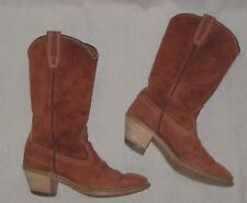 Vintage Suede Leather Boots Stacked Heels 70s 1970s Rust Burnt Sienna 6.5?