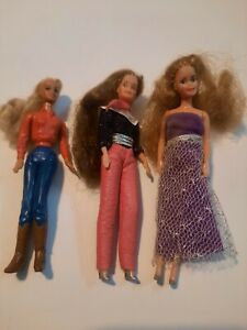 "3 Vintage 4"" Glamour Gals Doll Kenner CPG 1981  Hong Kong Mini Barbie"