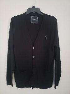Obey Propaganda Mens Black Cardigan Sweater Button size M