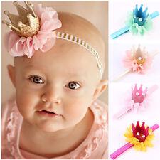 Stirnband Haarband Haarschmuck Krone Glitzer Perlen Geburtstag Baby Mädchen Neu