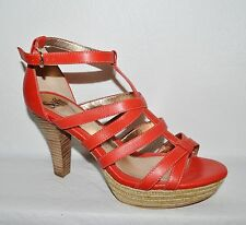 SOFFT NEW SZ 10 M RED LEATHER PLATFORM T STRAP HIGH HEEL SANDALS