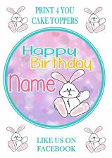 ND3 White Bunny Rabbit cute Birthday personalised round cake topper icing