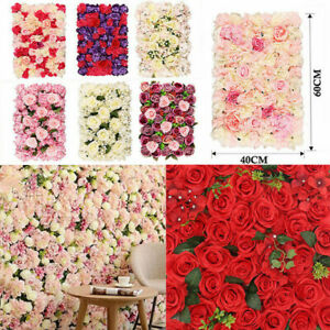Artificial Rose Flower Wall Hydrangea Panel Bouquet Wedding Party Home Decor UK