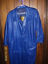 WOMENS LONG LEATHER BLUE COAT / DETACH JACKET, PERUZZI, MADE IN ITALY SIZE 6  FS